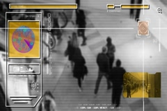 High Tech - Security Scan - Mall - Shopping Center - Analysis - black Stock Footage