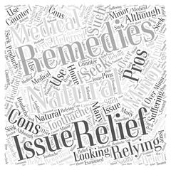 The Pros and Cons of Relying on Natural Remedies to Seek Relief word cloud co Stock Illustration