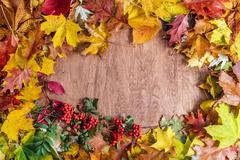 Frame made of fall leaves on wood. Autumn background Stock Photos