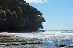 Rurutu island coastal landscape rock formation Stock Photos