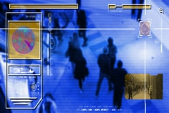 High Tech - Security Scan - Mall - Shopping Center - Analysis - blue Stock Footage