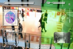 High Tech - Security Scan - people walking - Shopping Centre - Analysis Stock Footage
