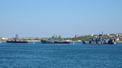 Three warships are in the port city of Sevastopol. Overall plan. Crimea. Stock Footage