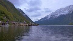 View of Hallstatt at Hallstatt lake in Austria Stock Footage