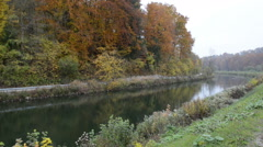 Channel of Isar river next to Pullach in Bavaria. Near Munich. (Germany) Stock Footage
