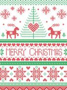 Scandinavian Christmas pattern with reindeer, Christmas tree Stock Illustration