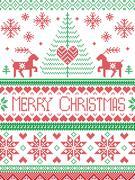 Scandinavian Christmas pattern with reindeer, Christmas tree Piirros