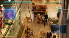 High Tech - Security Scan - Mall - people walking -  High Angle Shot - blue - Stock Footage