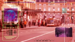 High Tech - Security Scan - Mall - people walking - Bus Station - red - HD Stock Footage