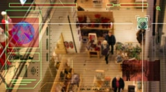 High Tech - Security Scan - Mall - people walking - High Angle Shot - red - H Stock Footage