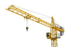 Rendering of yellow construction crane isolated on white background Stock Illustration