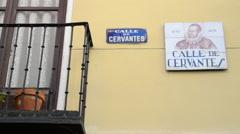 Street Plate Calle de Cervantes in Madrid, Spain Stock Footage