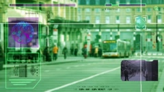 High Tech - Security Scan - Mall - people walking - Bus Station - green - HD. Stock Footage