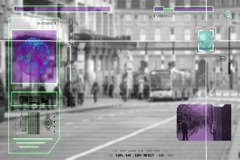 High Tech - Security Scan - Mall - people walking - Bus Station - grey Stock Footage