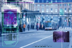 High Tech - Security Scan - Mall - people walking - Bus Station - blue Stock Footage