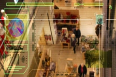 High Tech - Security Scan - Mall - people walking - High Angle Shot - yellow. Stock Footage