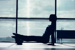Fitness, sport, training and lifestyle concept - woman doing pil Kuvituskuvat