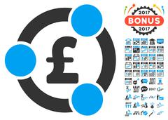 Pound Financial Collaboration Icon With 2017 Year Bonus Pictograms Stock Illustration
