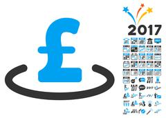 Pound Location Icon With 2017 Year Bonus Symbols Stock Illustration