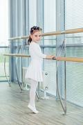 Little ballerina girl. Adorable child dancing classical ballet i Kuvituskuvat