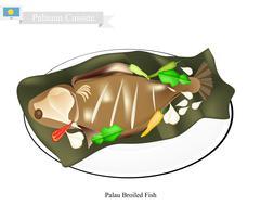 Palauan Broiled Fish, A Popular Dish of Palau Stock Illustration