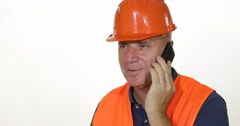 Engineer in Time of Working Program Talking Mobile Phone with Smiling Attitude Stock Footage
