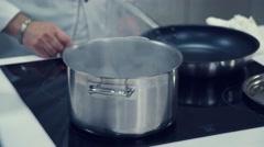 Boiling water. Boil. Metal pan. Cooking Stock Footage