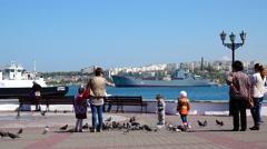 Children pigeons quay port. Overall plan. Sevastopol. Crimea. Stock Footage