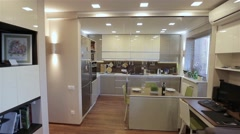 Home interior walk throught kitchen.modern apartment Stock Footage