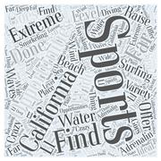 Where to Find Extreme Sporting Opportunities in California word cloud concept Piirros