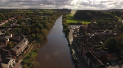 Aerial view over the River in Bewdley. Stock Footage