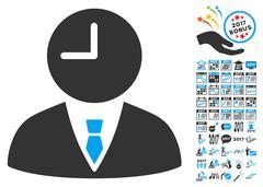 Time Manager Icon With 2017 Year Bonus Symbols Stock Illustration