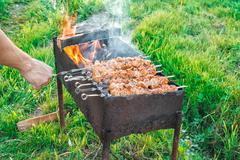 Shish kebab is fried on coals Stock Photos