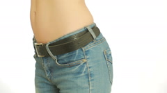 Woman fat belly. Overweight and weight loss concept. girl pulls the stomach Stock Footage