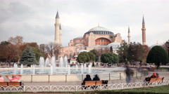8k. Tourists walking in Sultanahmet Square Hagia Sophia. 7680x4320 Stock Footage
