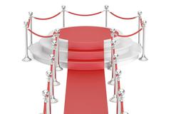 Empty podium with red carpet and barrier rope, 3D rendering Stock Illustration