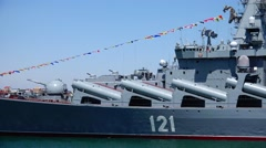 Russian anti-submarine cruiser Moskva. Sevastopol Crimea. Stock Footage