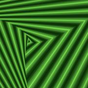 Whirling sequence with green triangle forms Stock Illustration