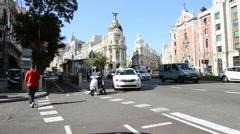Gran Via in Madrid, Spain Stock Footage