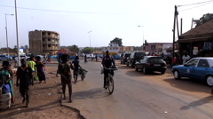 Traffic in street city of Bisseau - Guinea Africa Stock Footage