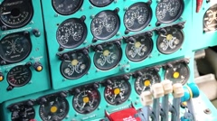 Old aircraft instruments panel Stock Footage
