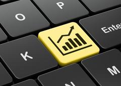 Finance concept: Growth Graph on computer keyboard background Stock Illustration