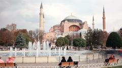 Tourists walking in Sultanahmet Square Hagia Sophia Arkistovideo