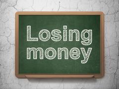 Money concept: Losing Money on chalkboard background Stock Illustration
