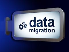 Information concept: Data Migration and Gears on billboard background Stock Illustration