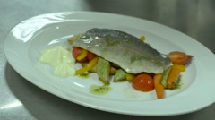 Serving Dishes Fish And Vegetables Lemon in Restaurant Stock Footage