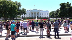 Crowds of people visiting White House in Washington DC 4k Stock Footage