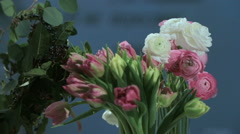 Camera shoots flowers of the Tulips, bouquet in motion. For use as a background. Stock Footage