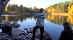 Pair Young People Loving Relationship. Forest Lake Autumn Stock Footage