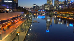 Moving shot across the Yarra River in downtown Melbourne Stock Footage